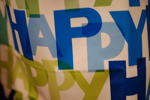 Banner with Happy text