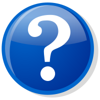 Question mark in blue circle