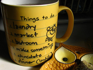 Mug with a things to do list on it