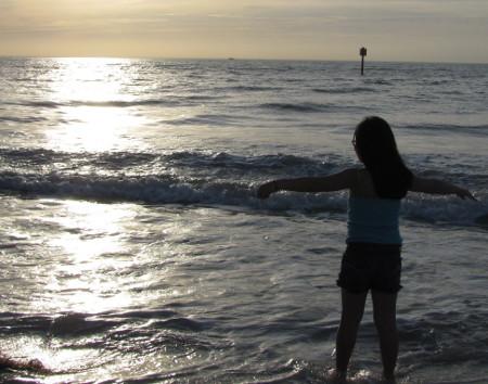 girl standing in water