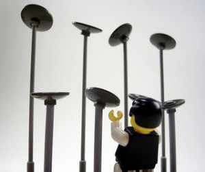 Lego man spinning plates