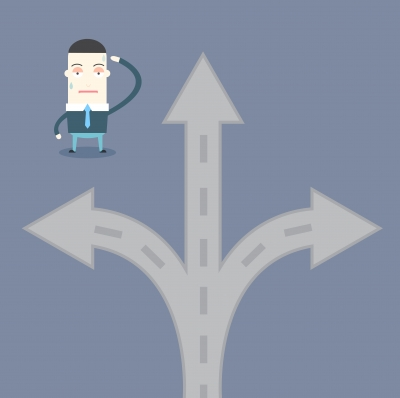 business person deciding road to take