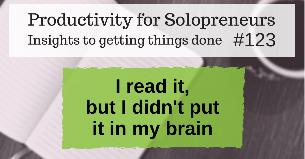 Productivity for Solopreneurs: Insights to getting things done #123 / I read it, but I didn't put it in my brain