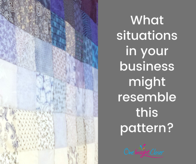 Text on picture of quilt: What situations in your business might resemble this pattern