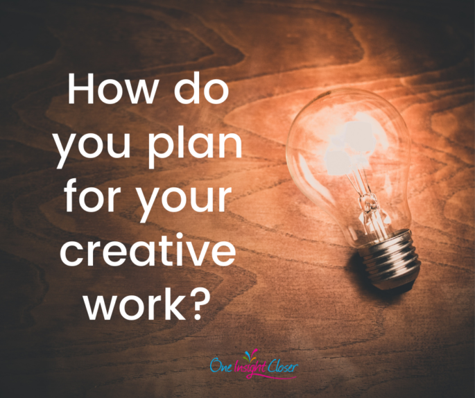 Text on picture of lit bulb on desk: How do you plan for your creative work?