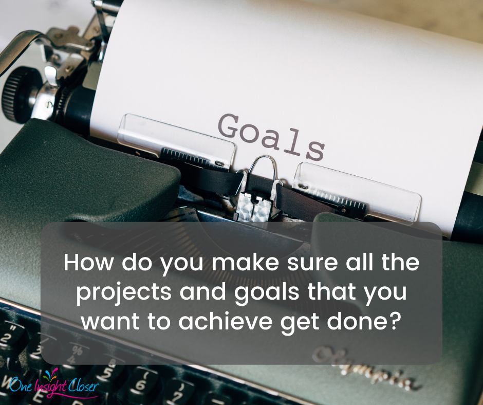 """Type writer with piece of paper that says """"Goals."""" Over top of the image is the text """"How do you make sure all the projects and goals that you want to achieve get done?"""""""